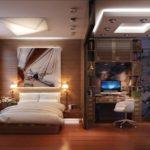 thiết kế phòng ngủ phòng khách trong một phòng