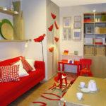sofa đỏ trong phòng ngủ phòng khách