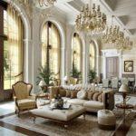 Thiết kế phòng khách lớn của một ngôi nhà riêng theo phong cách cổ điển