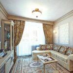 Thiết kế phòng khách ở Khrushchev theo phong cách cổ điển