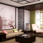 Trang trí phòng khách phong cách Nhật Bản với hình nền