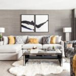 Trang trí phòng khách với hình ảnh mô-đun trên tường