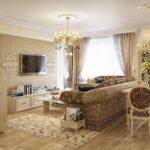 Trang trí phòng khách với ghế sofa bọc nệm và đèn chùm với sắc thái