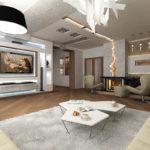 Trang trí phòng khách với ánh sáng neon và hốc tường cho đồ nội thất và TV