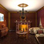 Trang trí phòng khách với tông màu nâu và mạ vàng.