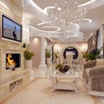 Phòng khách theo phong cách Baroque với lò sưởi