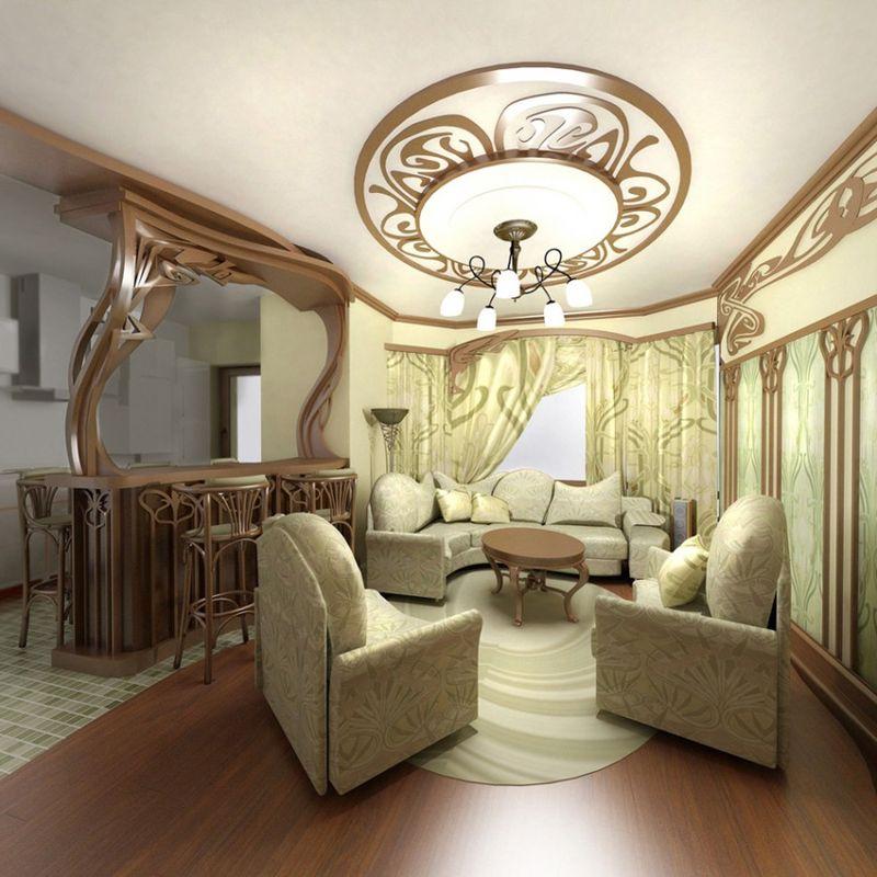 Trang trí phòng khách Art Nouveau