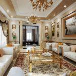 Phòng khách cổ điển với tranh baguette và bàn kính