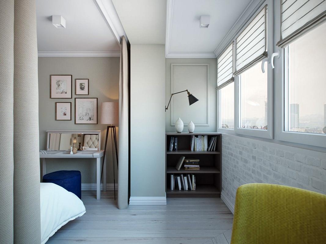 Chambre design scandinave avec balcon