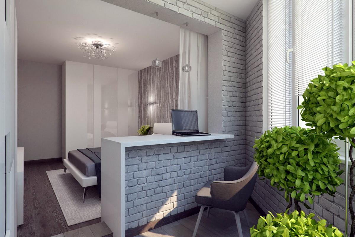 chambre design moderne avec balcon