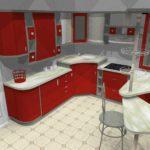 variantă luminoasă de design a imaginii de bucătărie roșie