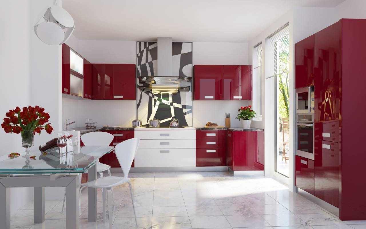 ideea unui decor neobișnuit de bucătărie roșie