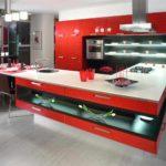 idee de o poză interioară de bucătărie roșie interioară