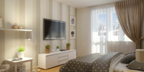 variante de la conception lumineuse d'une chambre à coucher dans l'image de Khrouchtchev