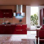 un exemplu de stil neobișnuit de fotografie de bucătărie roșie