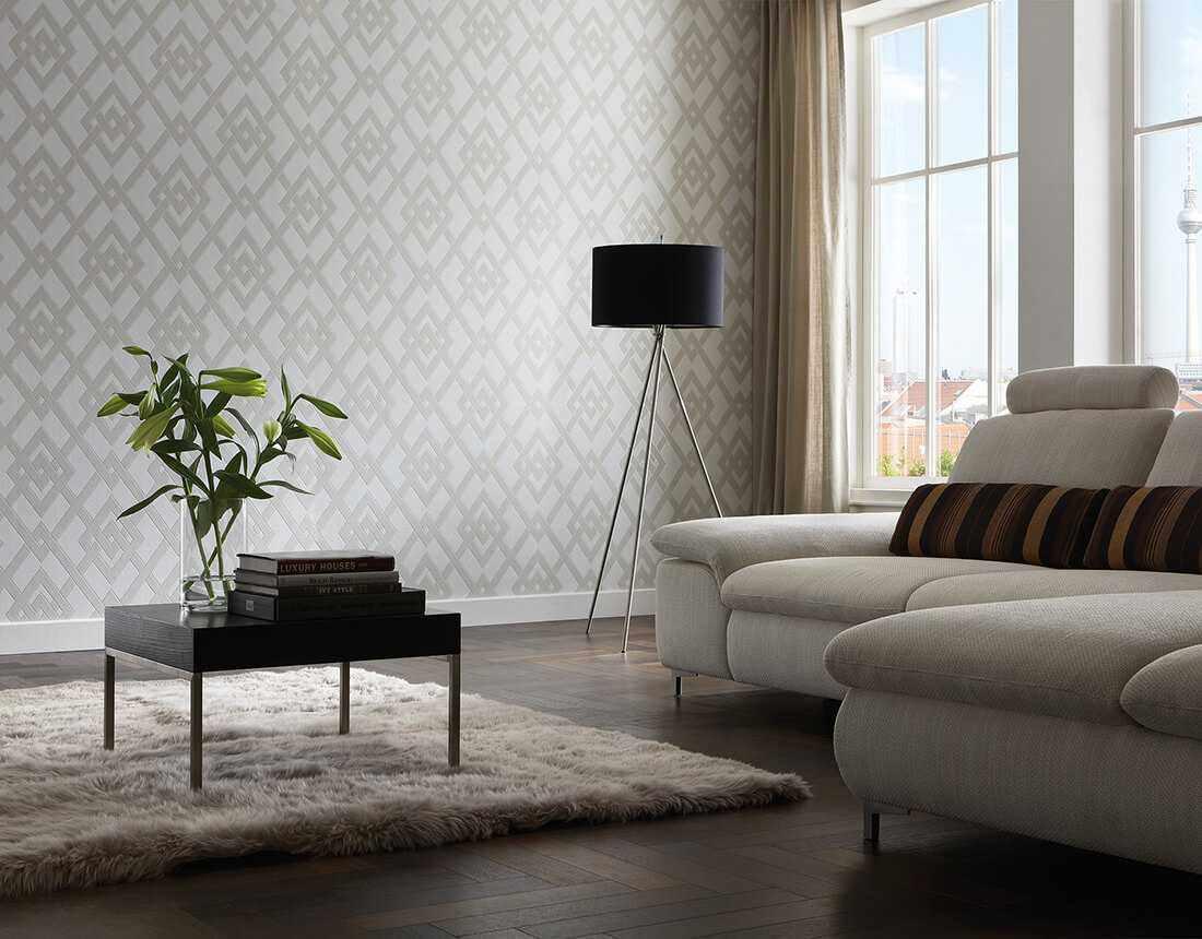 Một ví dụ về phong cách đẹp của giấy dán tường cho phòng khách
