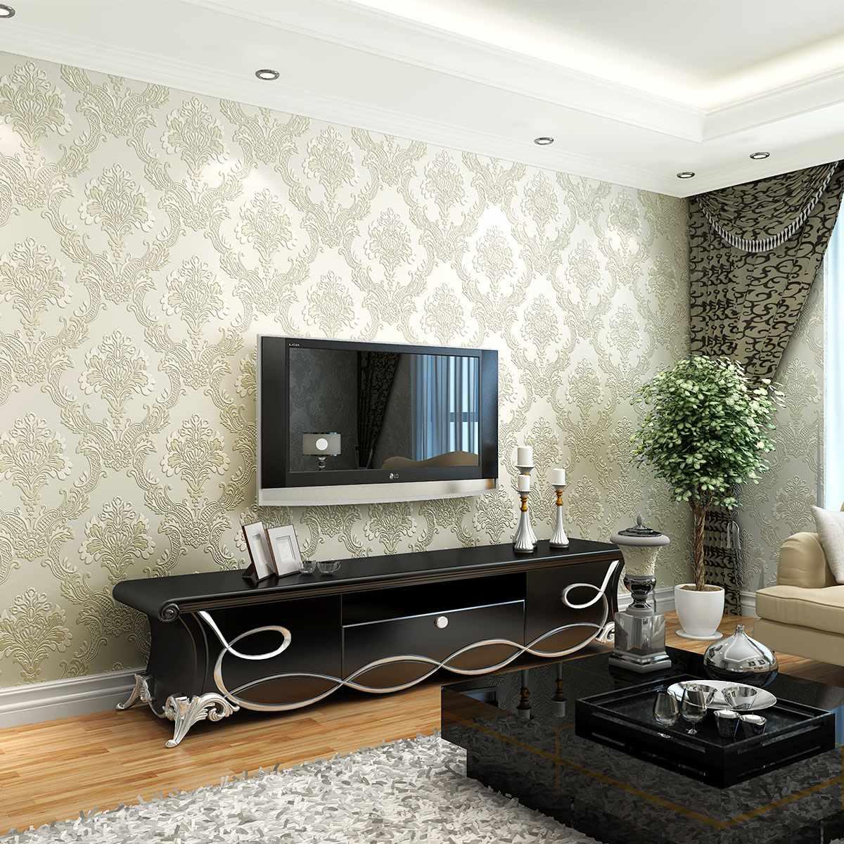tùy chọn cho một trang trí tươi sáng của giấy dán tường cho phòng khách