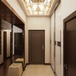exemple d'une conception inhabituelle d'un couloir dans une maison privée photo