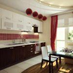 idee de un interior neobișnuit al unei imagini de bucătărie roșie