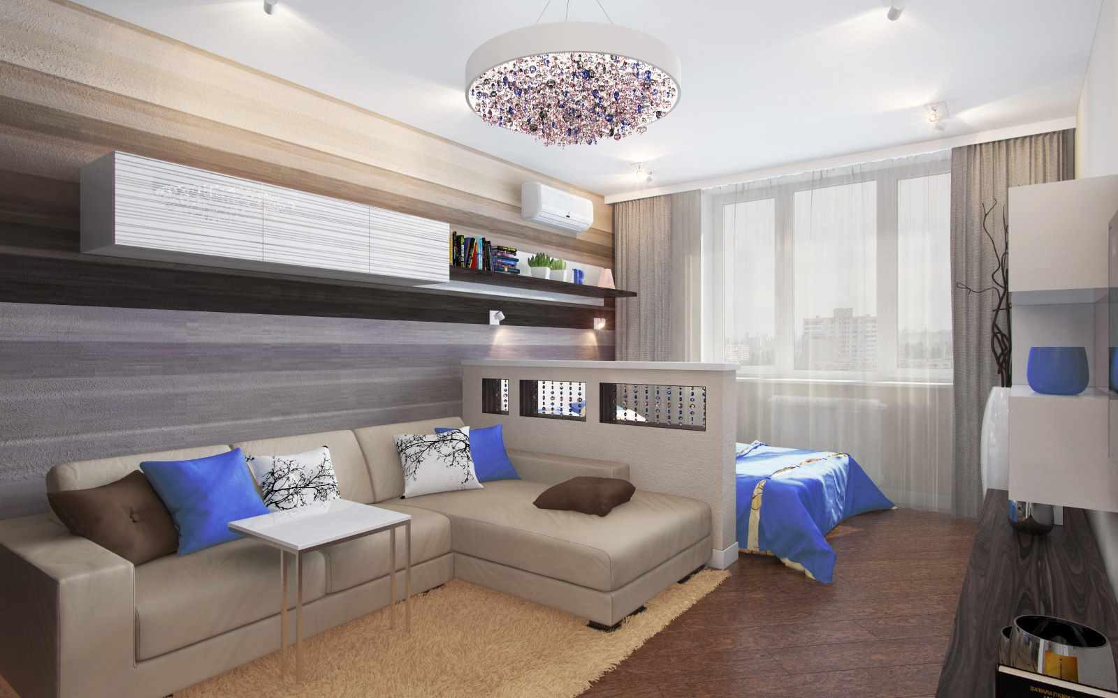Un exemple de décoration lumineuse d'une chambre de 15 m²