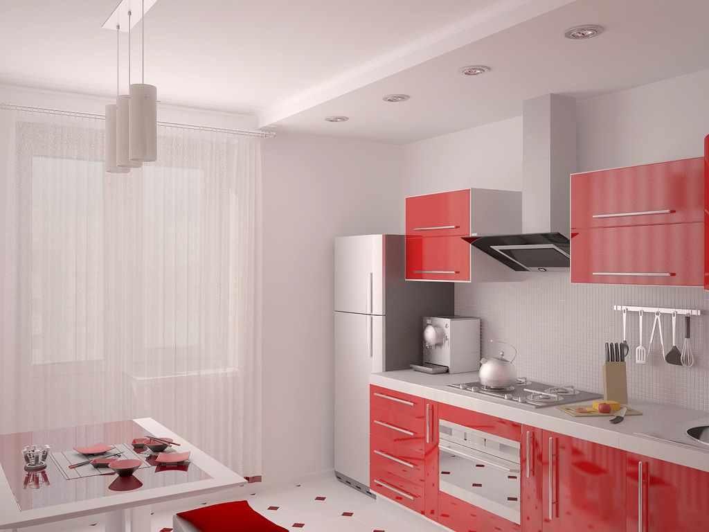 ideea unui stil frumos de bucătărie roșie