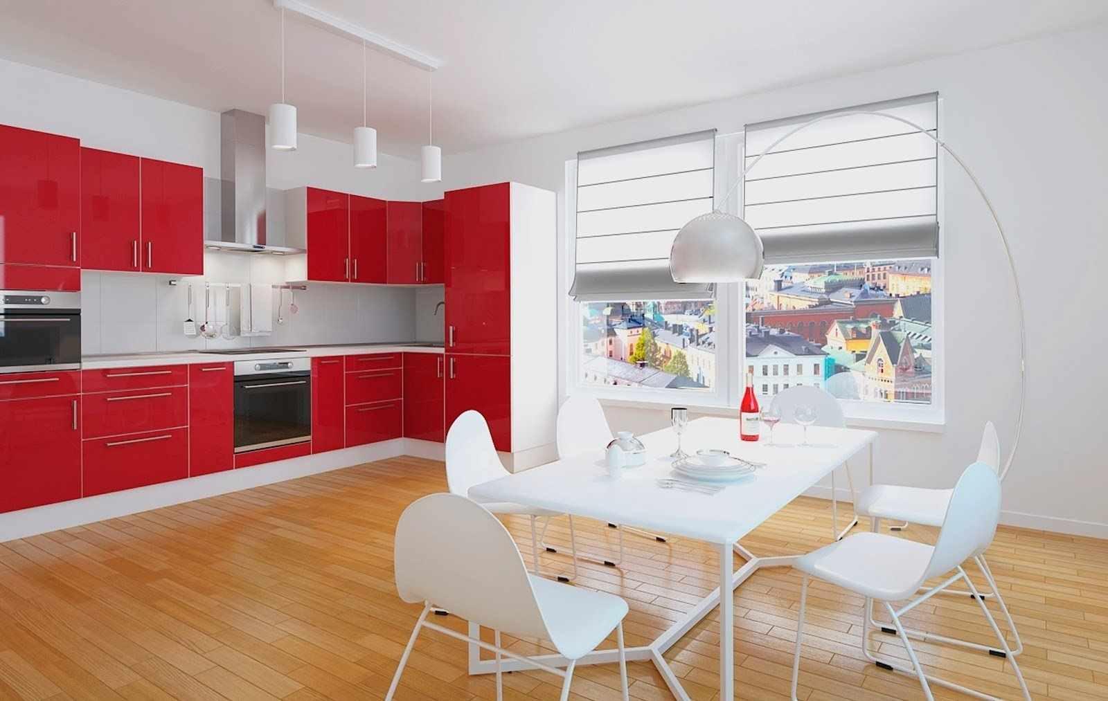 variantă luminoasă de design a bucătăriei roșii