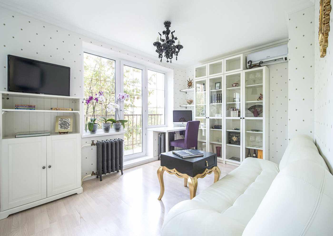 Một ví dụ về phong cách sáng của giấy dán tường cho phòng khách
