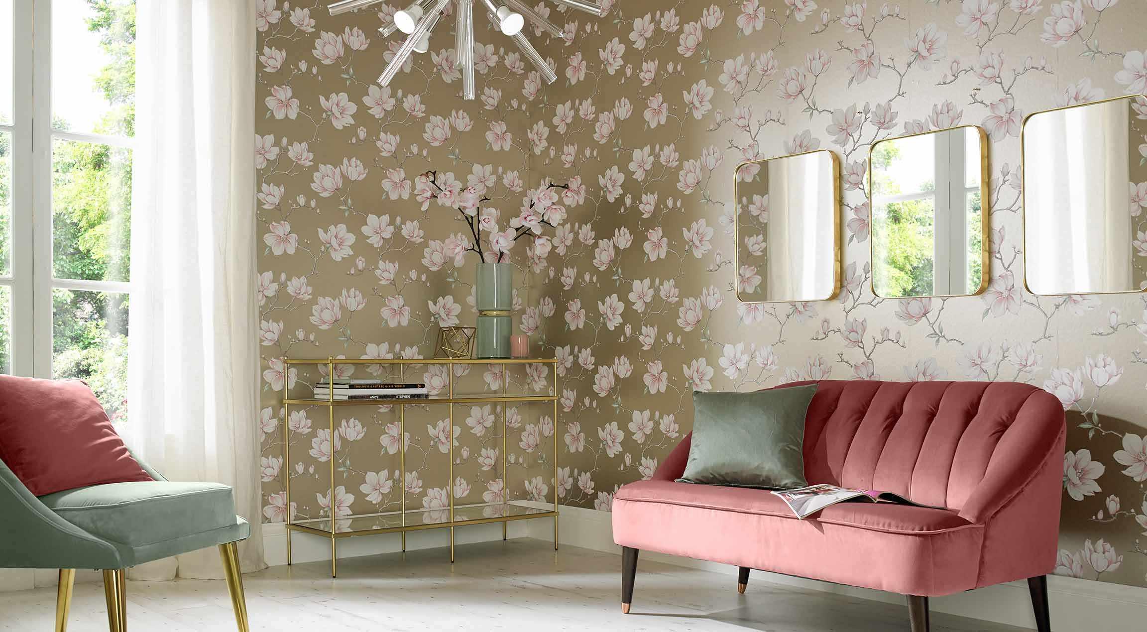 một ví dụ về trang trí đẹp của giấy dán tường cho phòng khách