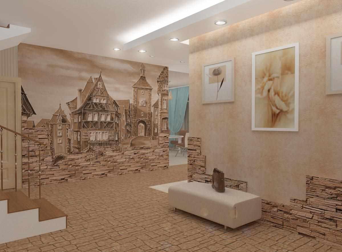 version du design inhabituel du couloir d'une chambre dans une maison privée