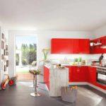 versiunea unui frumos decor de fotografie de bucătărie roșie
