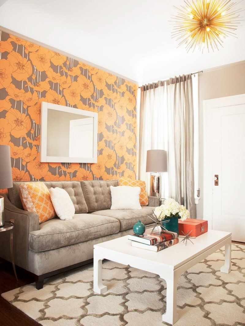phiên bản của giấy dán tường nội thất khác thường cho phòng khách