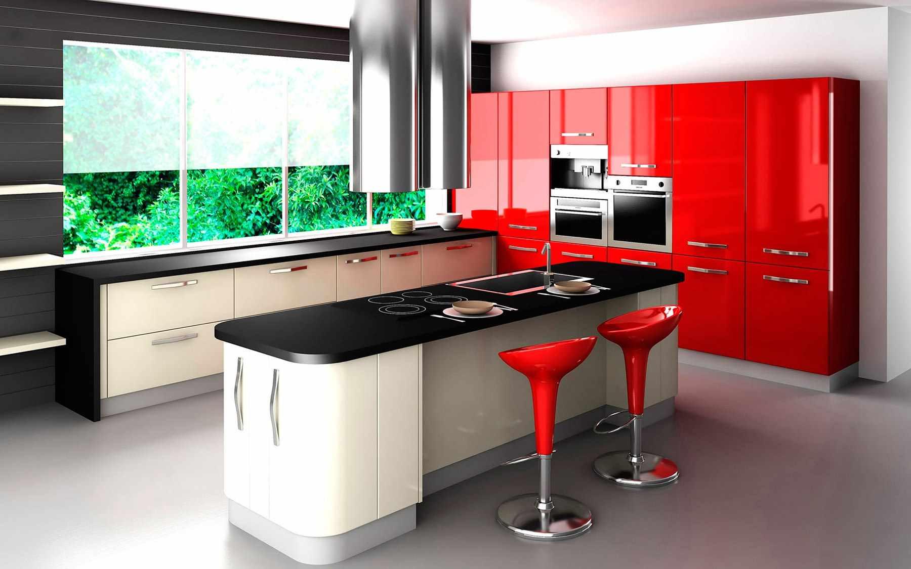 ideea unei bucătării interioare roșii strălucitoare