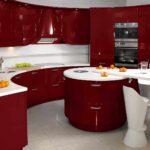 idee de o fotografie de bucătărie roșie interioară strălucitoare