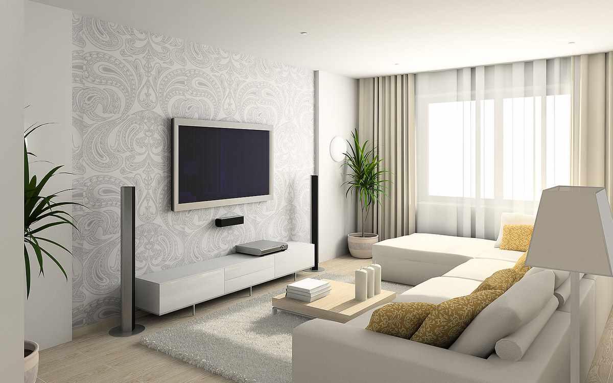 ý tưởng của một hình nền nội thất tươi sáng cho phòng khách