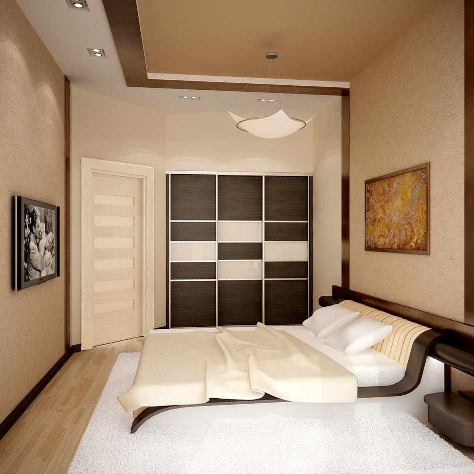 une variante de l'intérieur inhabituel d'une chambre étroite