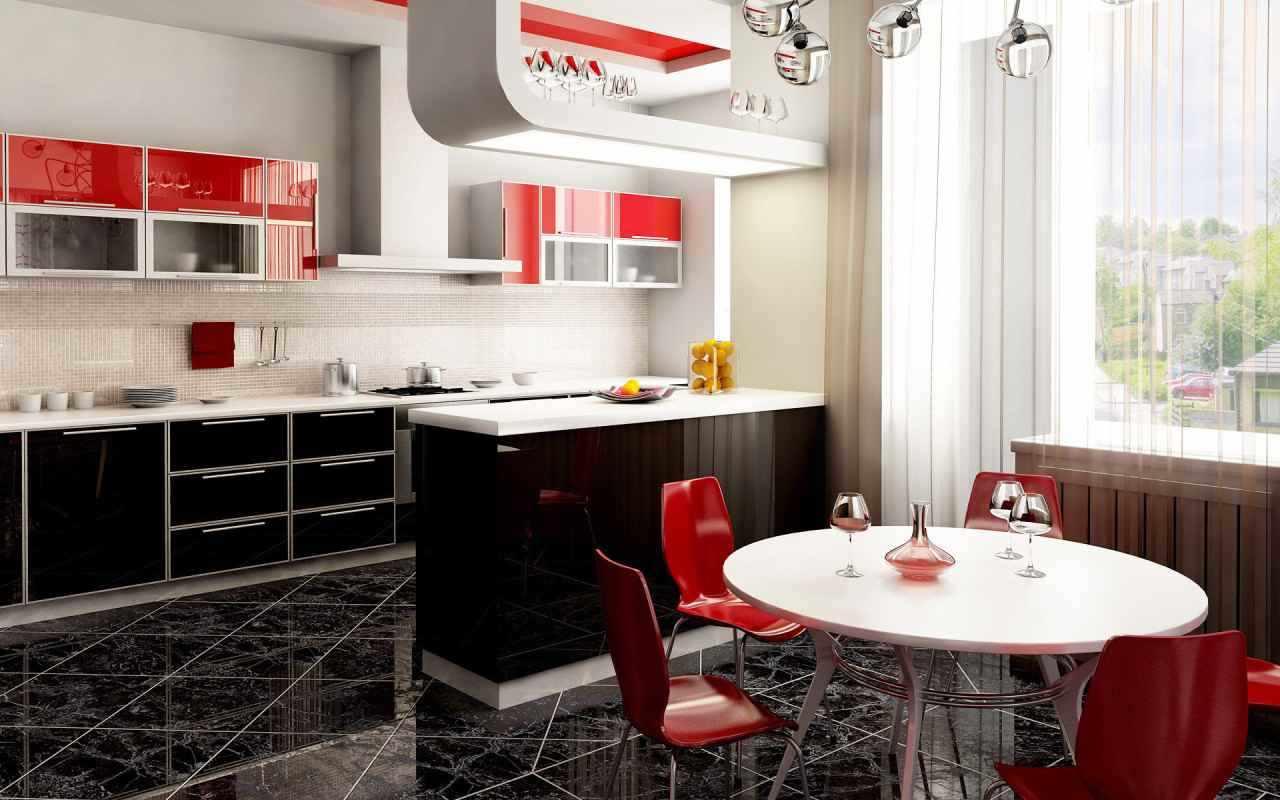 variantă a interiorului luminos al bucătăriei roșii