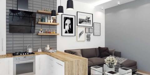 opțiunea unei frumoase sufragerii din bucătărie interioară imagine de 16 mp