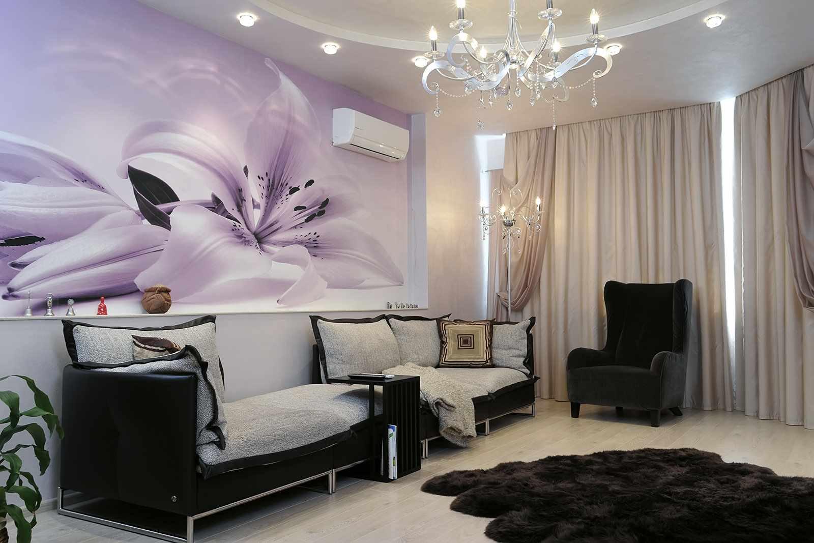 một ví dụ về một phong cách khác thường của giấy dán tường cho phòng khách