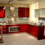 opțiunea unui stil luminos de imagine de bucătărie roșie