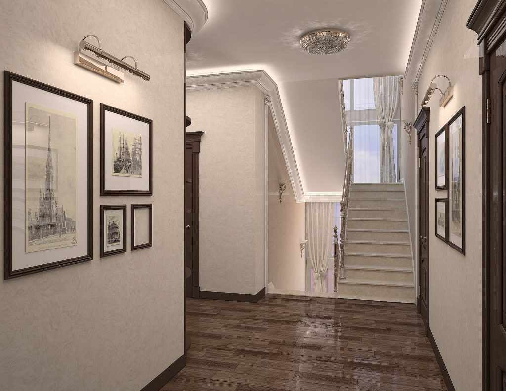 exemple de conception d'un couloir lumineux dans une maison privée