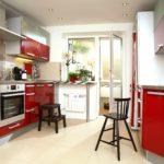 idee de o frumoasă fotografie interioară de bucătărie roșie