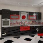 varianta de decor luminos a imaginii de bucătărie roșie