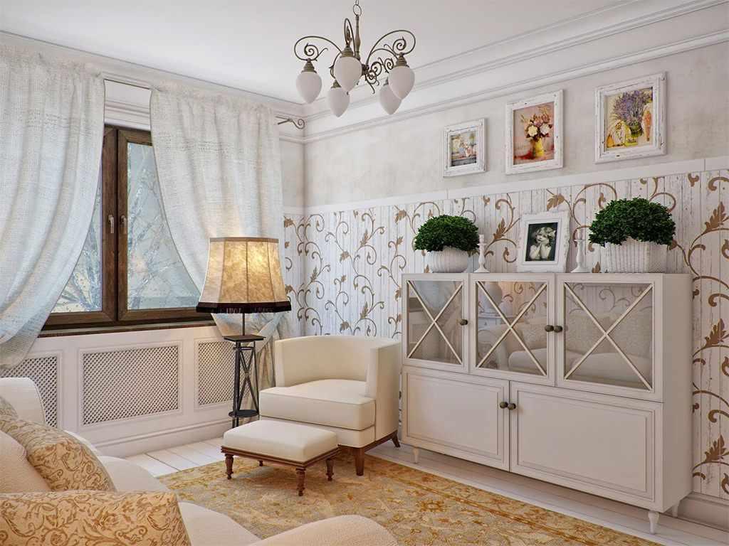 một ví dụ về một thiết kế provence đẹp trong phòng khách