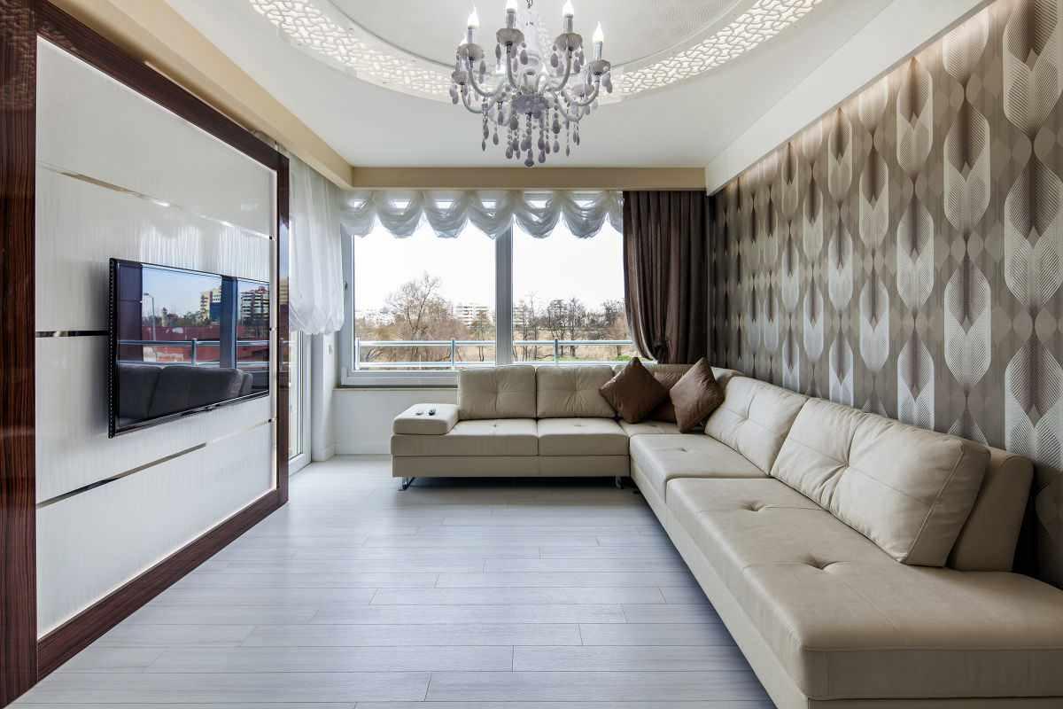 phiên bản của một phong cách khác thường của giấy dán tường cho phòng khách