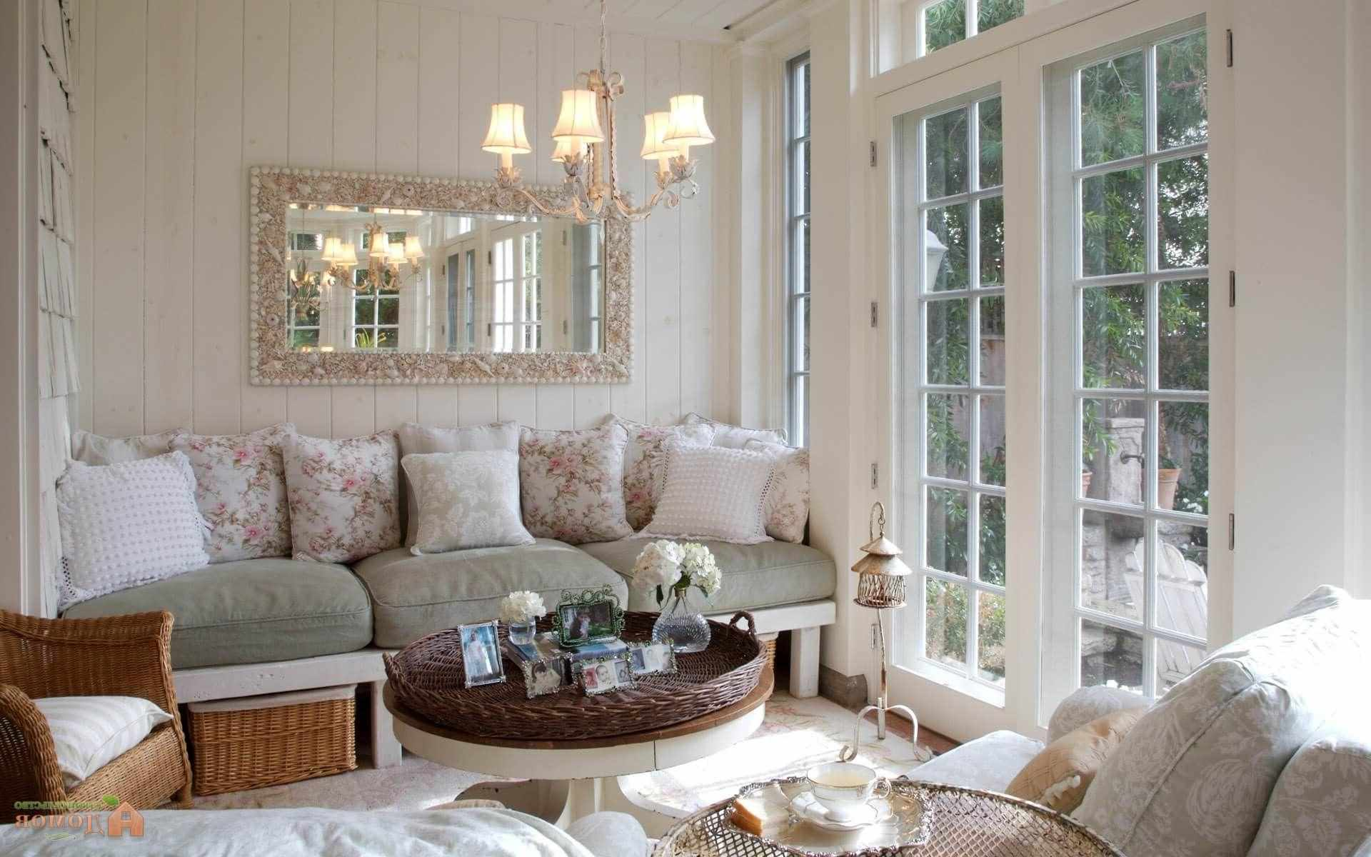 Một ví dụ về thiết kế Provence ánh sáng trong phòng khách