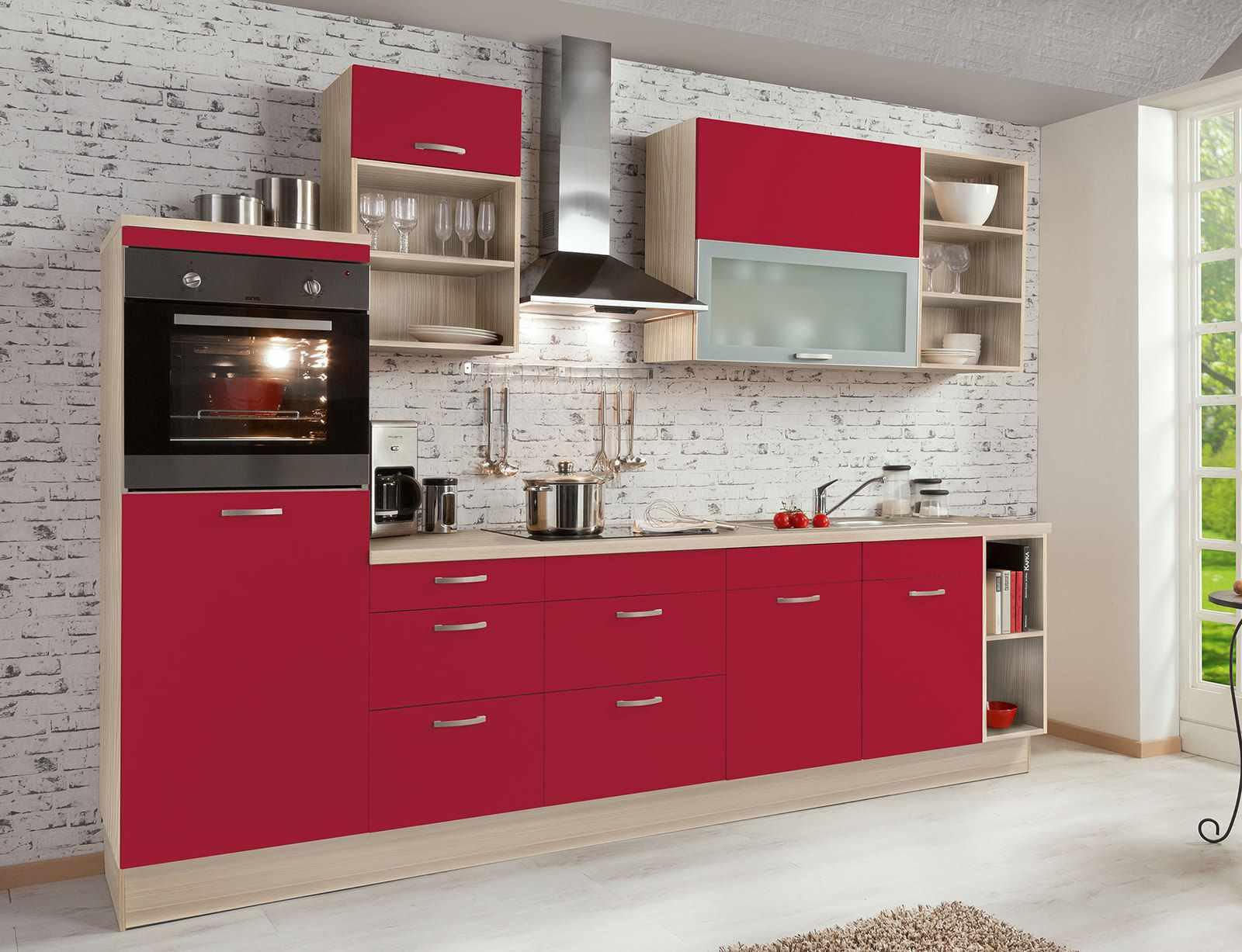 ideea unui stil neobișnuit de bucătărie roșie