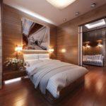 idée d'un intérieur lumineux d'une photo de chambre étroite