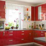 ideea unui stil neobișnuit de imagine de bucătărie roșie