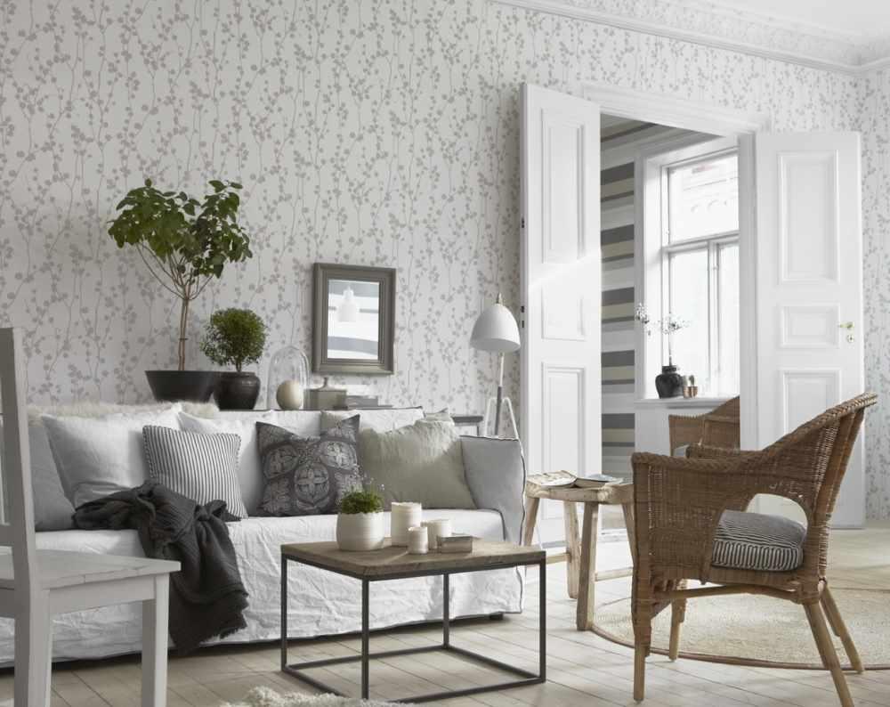 Một ví dụ về phong cách nhẹ của giấy dán tường cho phòng khách