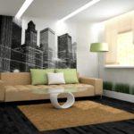 Một ví dụ về thiết kế khác thường của giấy dán tường cho bức tranh phòng khách